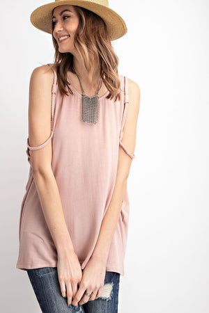 TINA BRAIDED STRAP COLD SHOULDER KNIT TUNIC