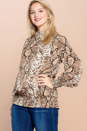 Peggy Python Smocked Turtleneck Blouse