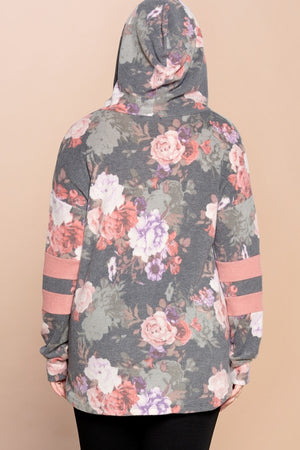 Essex Floral Print Brushed Knit Hoodie