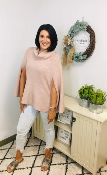 Naomi Cold Shoulder Cowl Neck Poncho