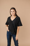Nice Surprise Surplice Knit Top In Black
