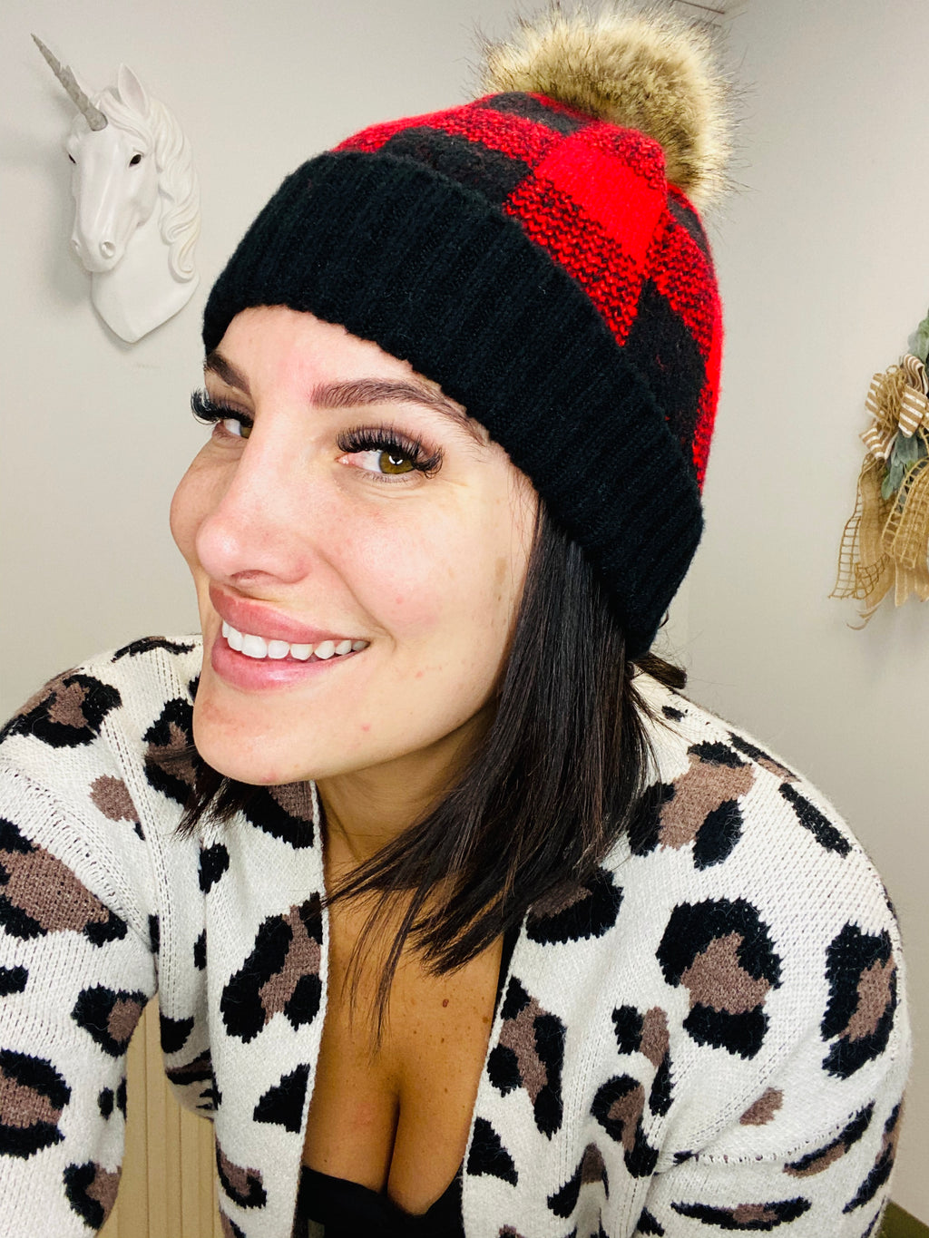 Laredo Buffalo Plaid Pom Beanie