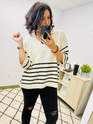 Mia 3/4 Sleeve Striped Knit V-Neck Pullover Sweater