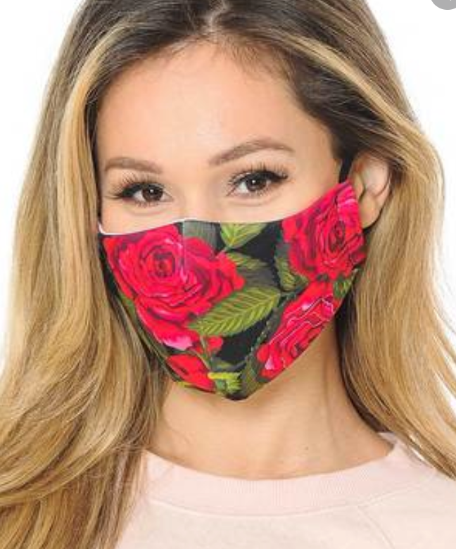 Graphic Rose Face Covering with PM2.5 Filter *FINAL SALE*