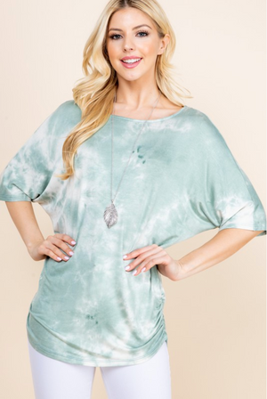 Sea Mist Tie Dye Ruched Top