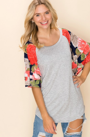 Full of Roses Bell Sleeve Top