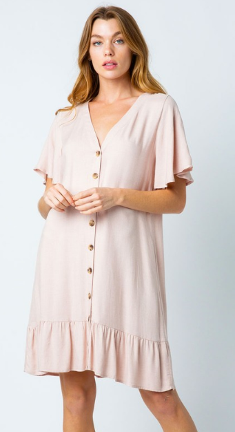 Alexa Woven Button Down Pleated Dress