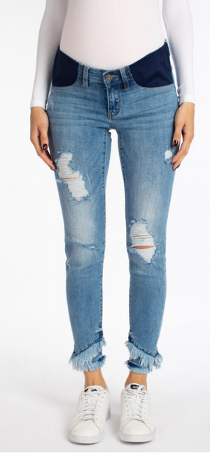 LISA DISTRESSED MATERNITY SKINNY JEAN