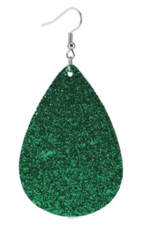 Winter Green Teardrop Leather Earrings
