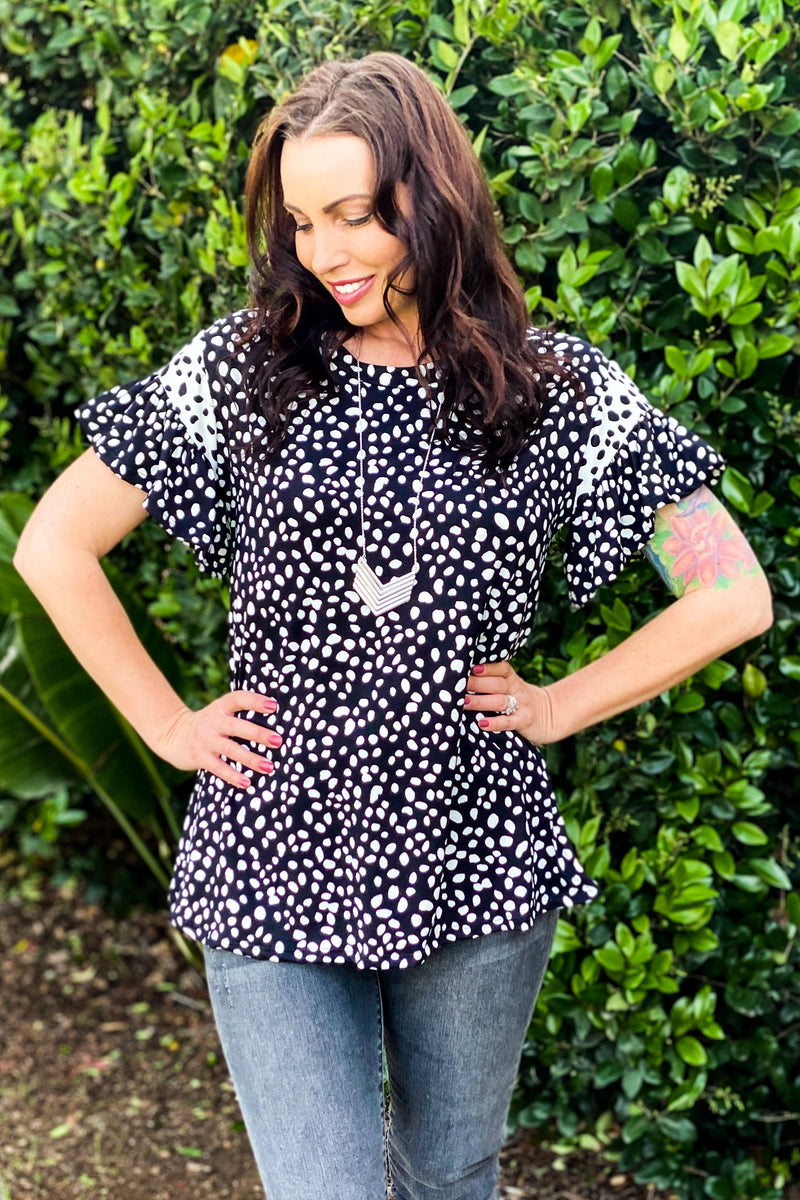 Speckle In A Peck Short Sleeve Top