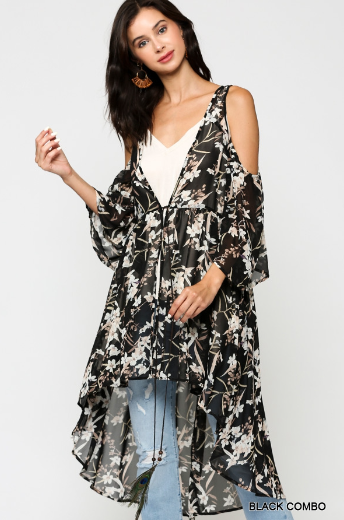 Mina Printed Cold Shoulder Duster Cardigan