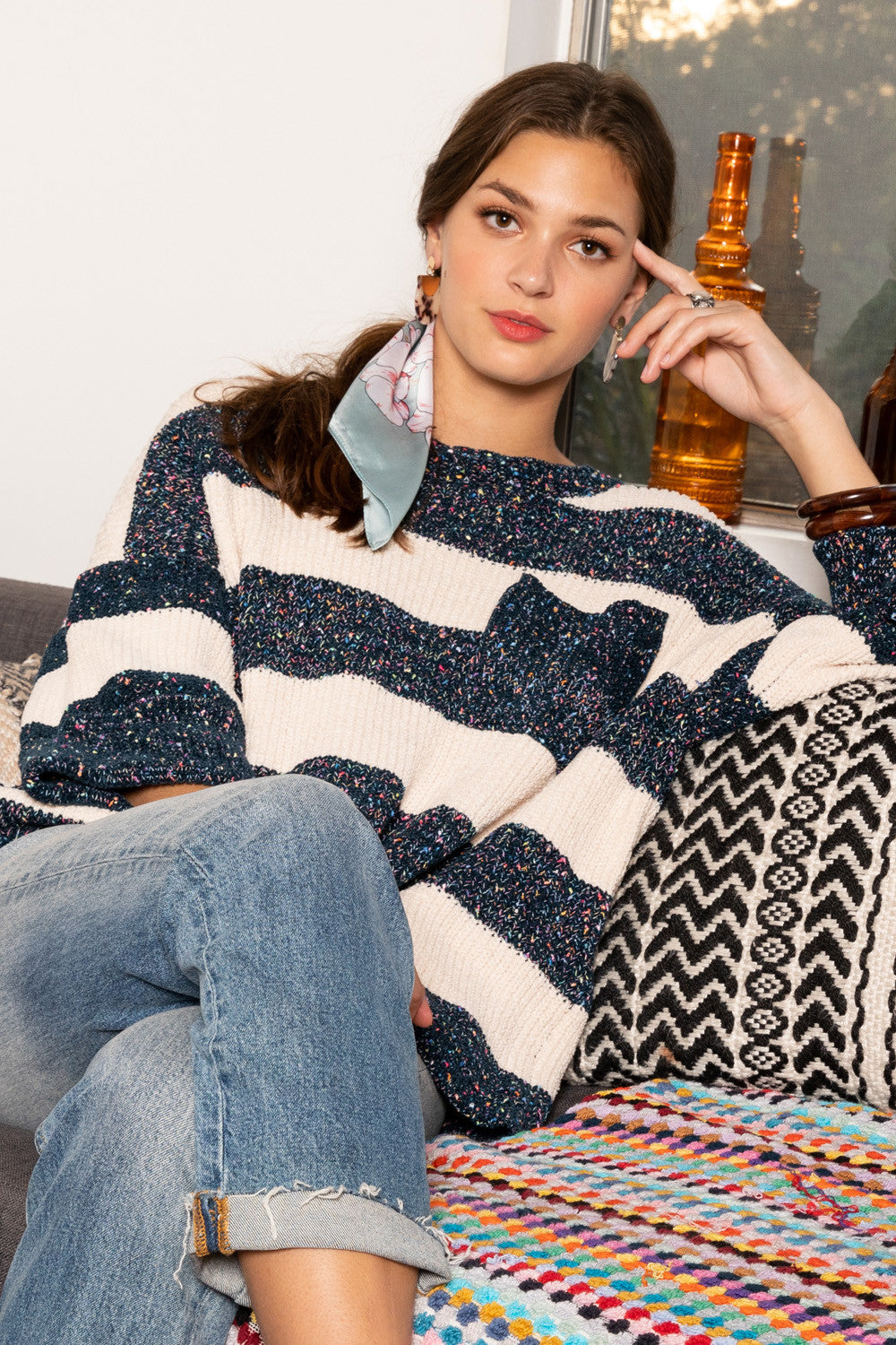 Emmarie Speckled Chenille Striped Sweater