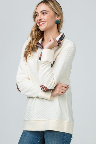 Elliot Quilted Lightweight Pullover Plaid Details