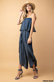 MICHAELA MINERAL WASHED RUFFLE JUMPSUIT