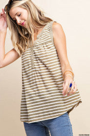 WILLOW SLEEVELESS STRIPED JERSEY TOP