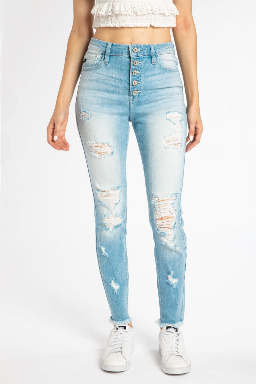 Zion High Rise Button Fly Skinny Jeans