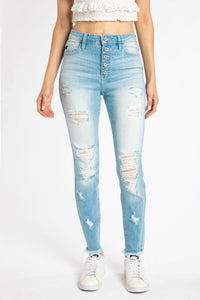 Zion High Rise Button Fly Skinny Jean