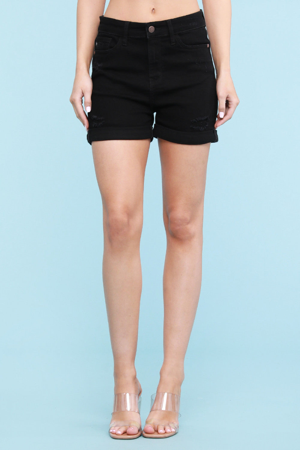 Yvonne Black Cuffed Shorts
