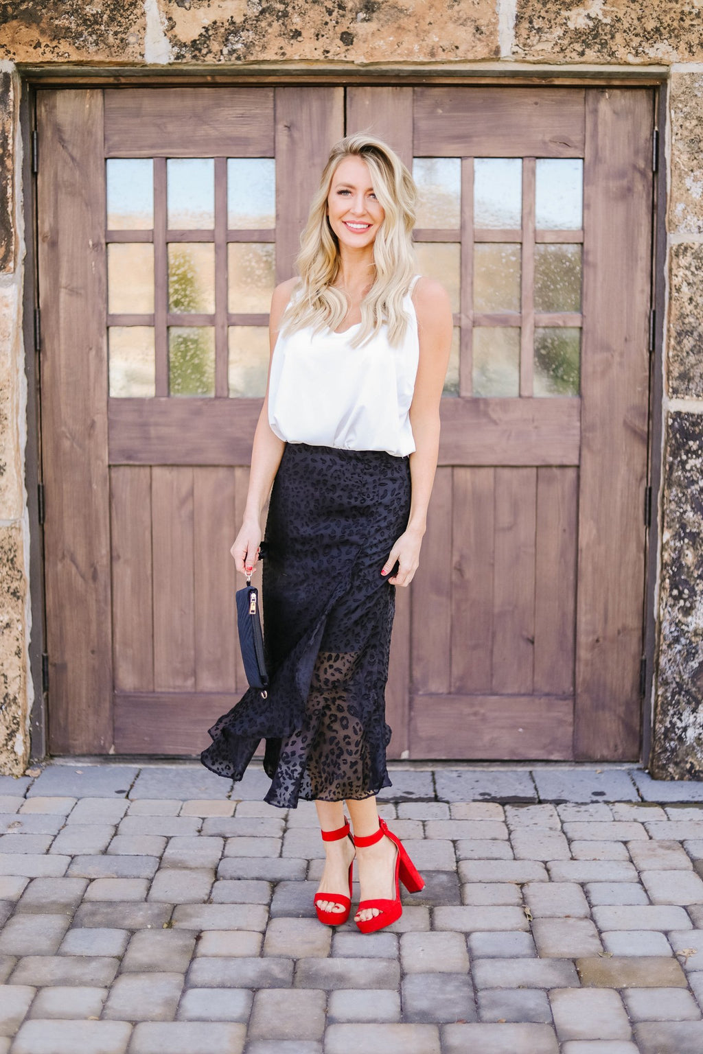 Midnight Spotted Midi Skirt OW