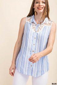 BLAISE LACE TRIM INSERT STRIPED SLEEVELESS BUTTON DOWN TOP