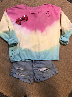 One Love Tie Dye Distressed Top