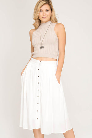 LYLA BUTTON DOWN MIDI SKIRT