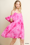 Cheyenne Tye-Dye Ruffle Sleeve Open Shoulder Dress