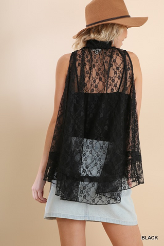 GIA SLEEVELESS SHEER LACE MOCK NECK TOP