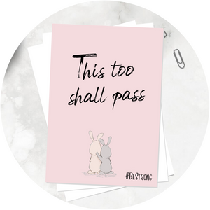 Blush pink A6 Poppleberry positivity postcards with 2 rabbit / bunny drawings together.