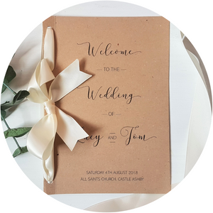Kraft brown A5 Poppleberry wedding order of service folded card with cream organza bow