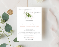 Blush flower and greenery A6 Poppleberry wedding evening / reception invitation, with pencil sketch flowers, on white cardstock.