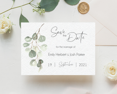 Muted green eucalyptus Poppleberry A6 wedding save the date card