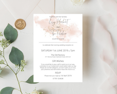 A watercolour blush pink A6 Poppleberry flat wedding evening/reception invitation, on white cardstock and finished with gold sparkle.
