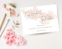 A watercolour blush pink A6 Poppleberry one-sided wedding save the date card, with gold sparkles.