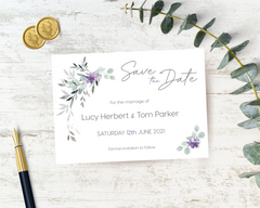Violet, lilac & grey A6 Poppleberry flat one-sided wedding save the date card, with dark grey writing, on white cardstock.