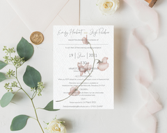 Watercolour pink flowers A6 Poppleberry wedding evening / reception invitation, with eucalyptus leaves.