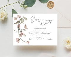 Watercolour pink flowers Poppleberry A6 wedding save the date card, with eucalyptus leaves.