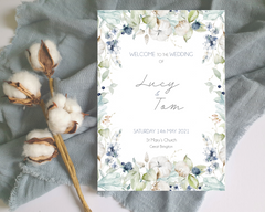 Front of a dusty & watercolour blue A5 Poppleberry folded 4-page wedding order of service card, on ivory cardstock.