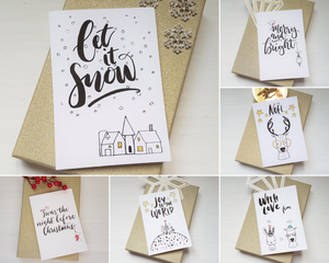 6 Poppleberry A6 Size Scandinavian & Hygge Inspired Folded Christmas Cards with Quaint Illustrations.