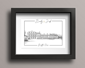 A digitally drawn wedding venue illustration of Boughton House, with the couple's names at the top, in a black frame.