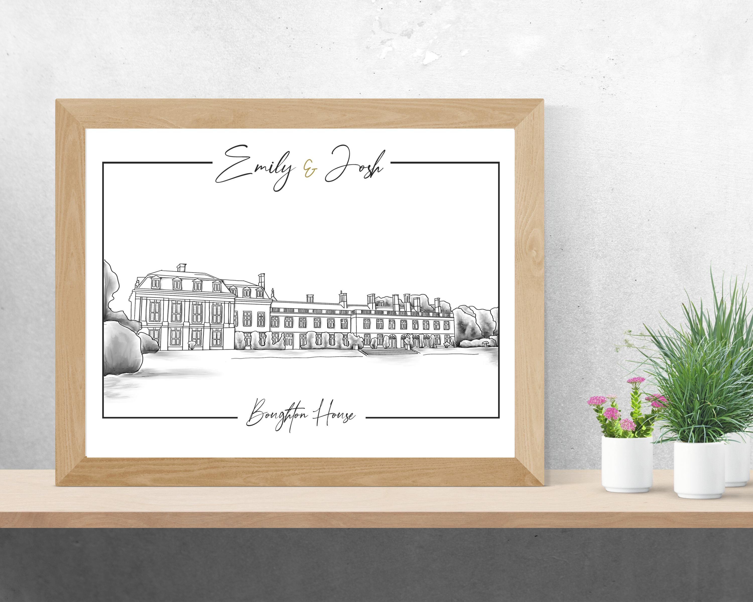A digitally drawn wedding venue illustration of Boughton House, with the couple's names at the top, in a wooden frame.