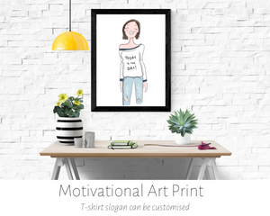 Poppleberry smiling girl digital drawing, wearing a motivational message on her jumper, in a black frame hung on a wall.