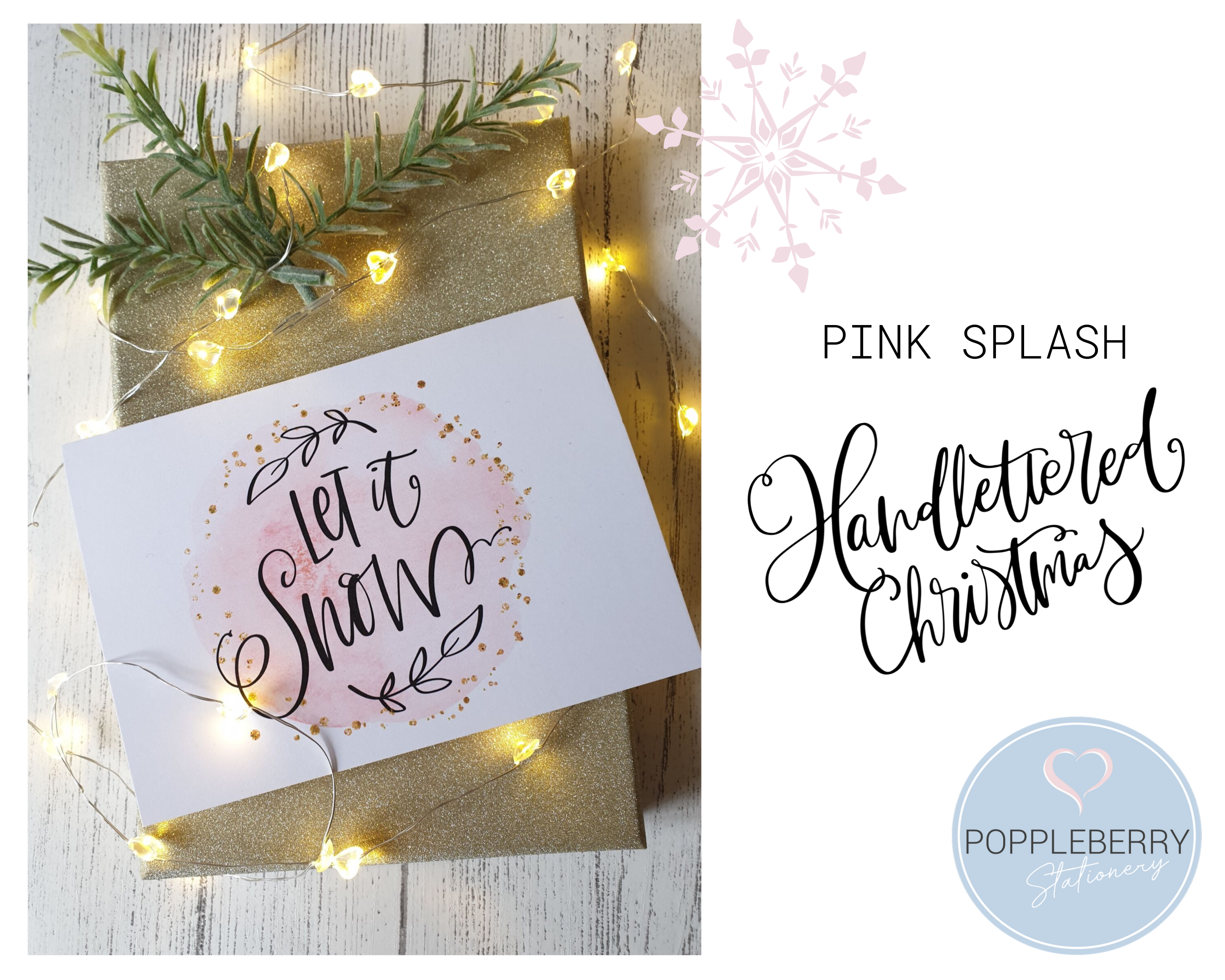 Poppleberry A6 'Let it Snow' Modern Pink Watercolour Splash Christmas Card with Gold Sparkle Glitter.