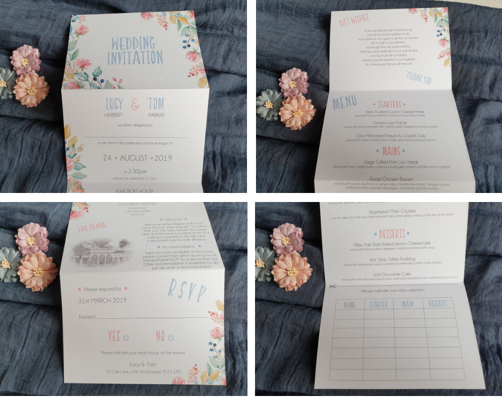 Close-up of an unfolded summery & floral A6 Poppleberry accordion fold all-in-one wedding invitation, front & back.