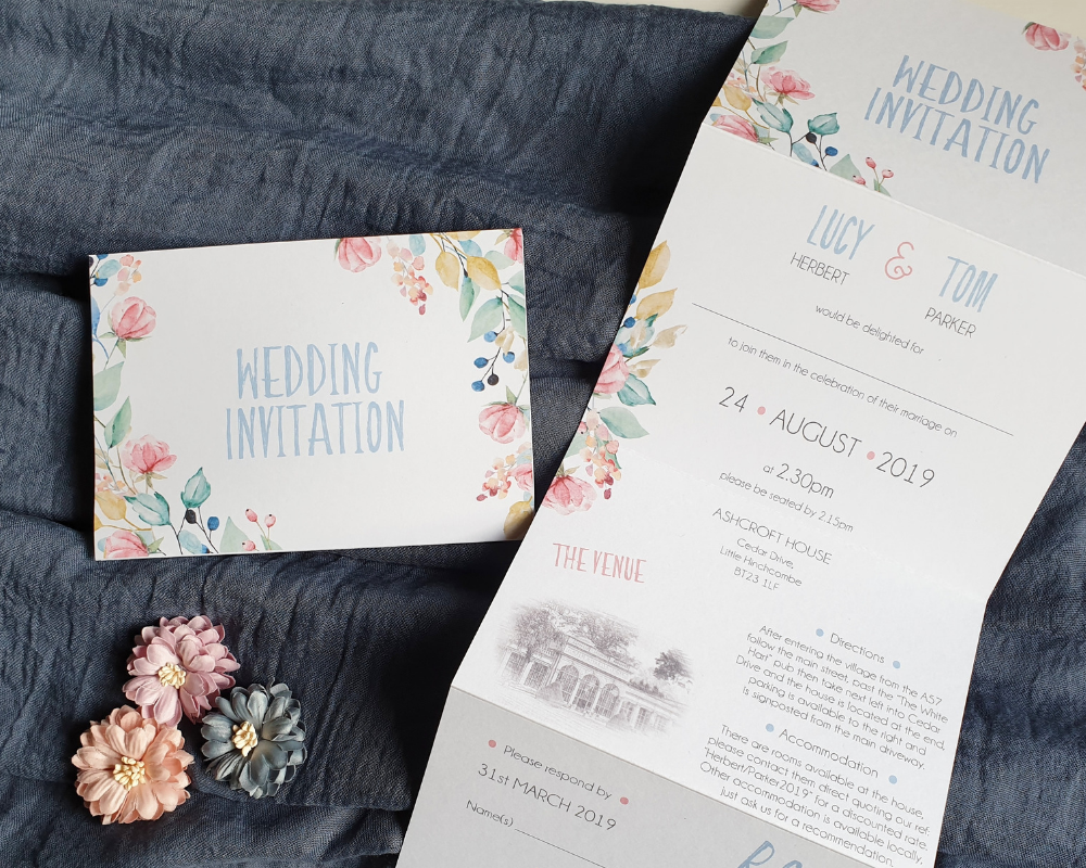 Close-up of the front of a summery & floral A6 Poppleberry accordion fold all-in-one wedding invitation, folded & unfolded.