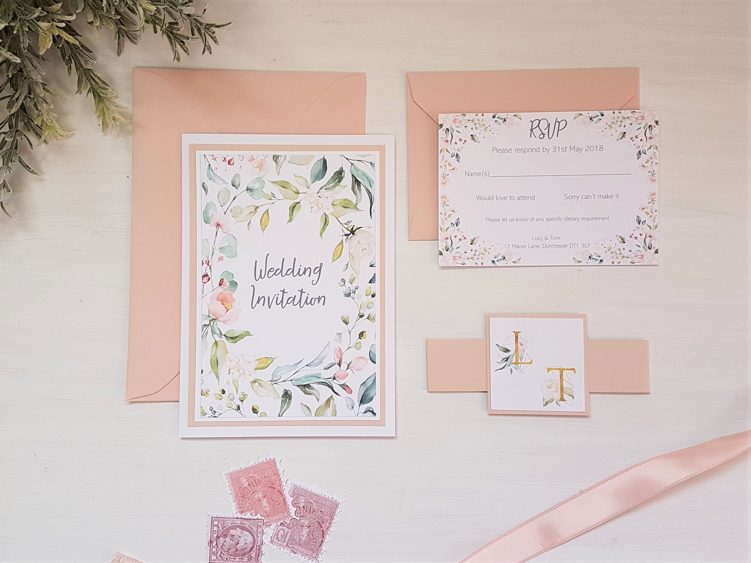 Blush pink monogram A6 Poppleberry folded wedding invitation set, with monogram card wrap and matching RSVP separated.