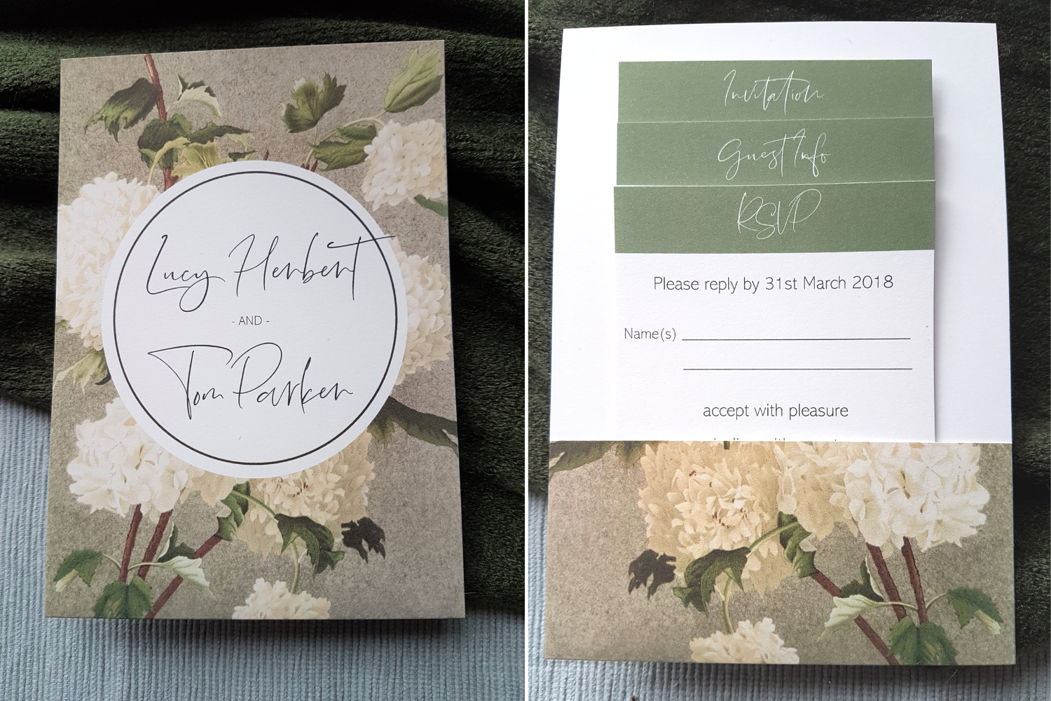 Front & back of a sage & cream floral A6 Poppleberry mini pocket-fold wedding invitation set, with inserts in the back pocket
