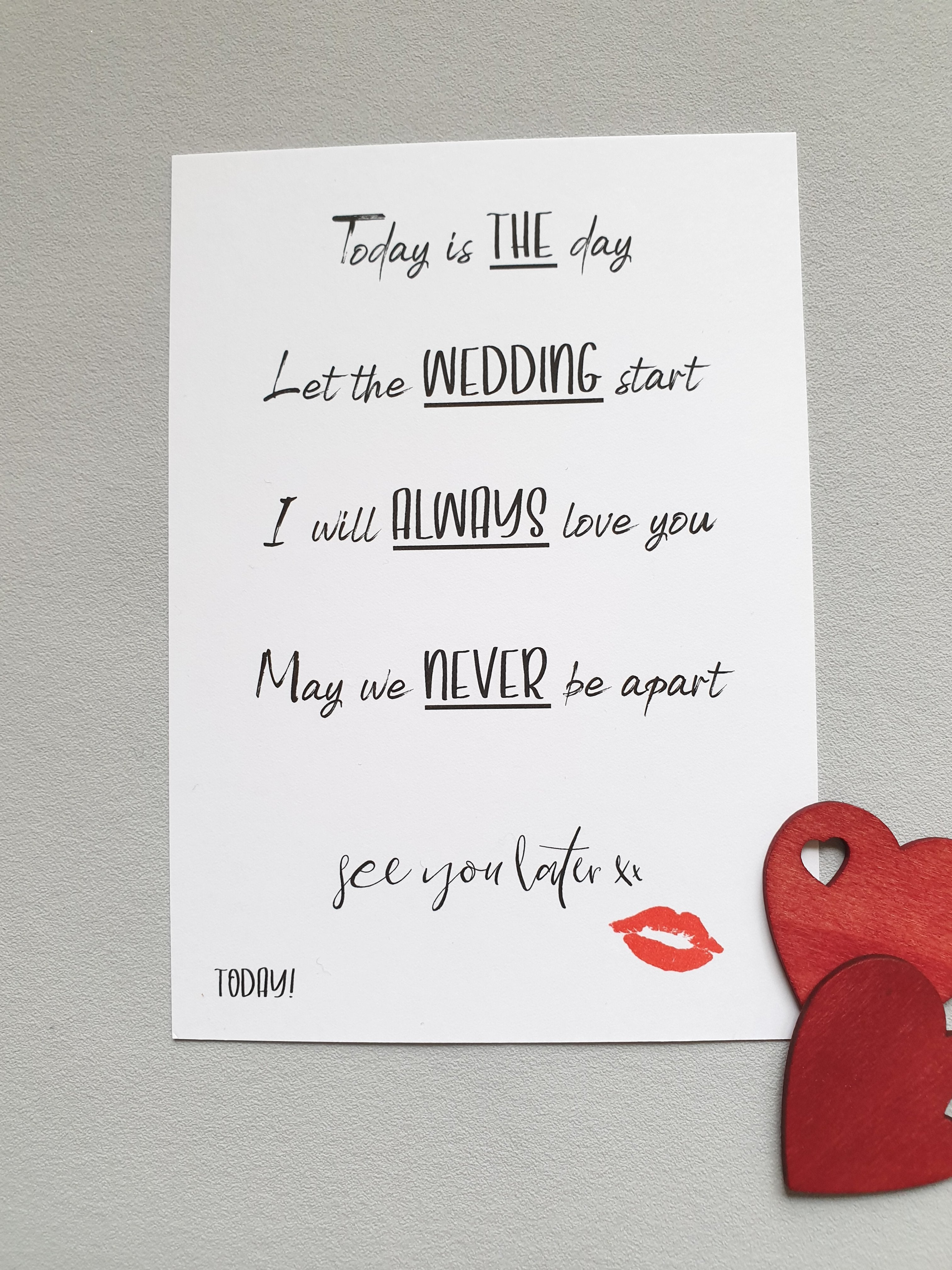 The '0 days to go' A6 Poppleberry wedding countdown postcard on white cardstock with lipstick kiss illustration.