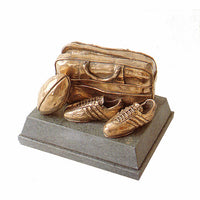 Bronze rugby ball, boots and bag trophy. Quality handmade bronze trophy-SC8