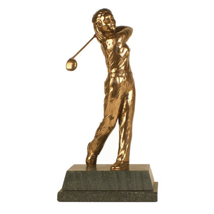 "Golf trophy of Lady golfer at the end of swing - 8.5""/22cm S110"